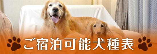ご宿泊可能犬種表